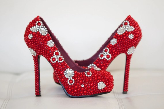 Red Bridal Shoes with Pearls and Rhinestones - goldsole