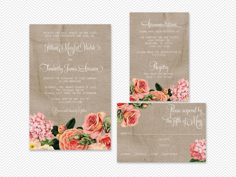 Items similar to DIY English Garden Digital Wedding Invitation Set  Jillian on Etsy