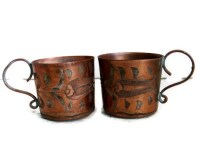 Cute pair of etched copper COFFEE CUPS Old metal Turkish