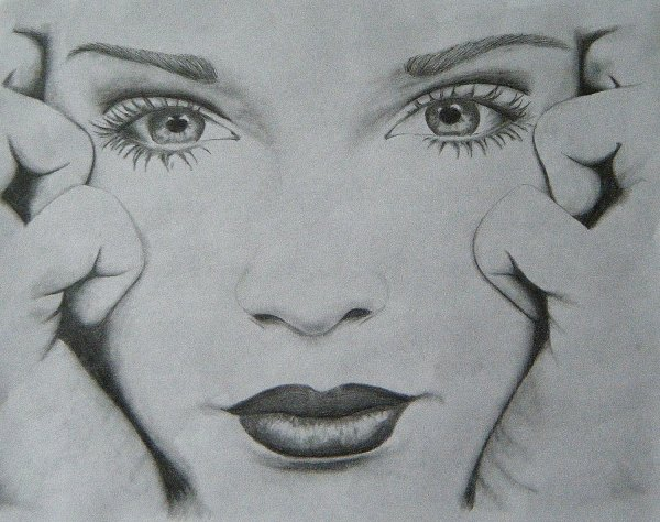 Pencil Drawing Of Girl Female Face 11x8.5 Black