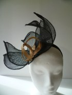 Black  Fascinator with a touch of  Metallic Gold  head piece architectural statement - susansteiner