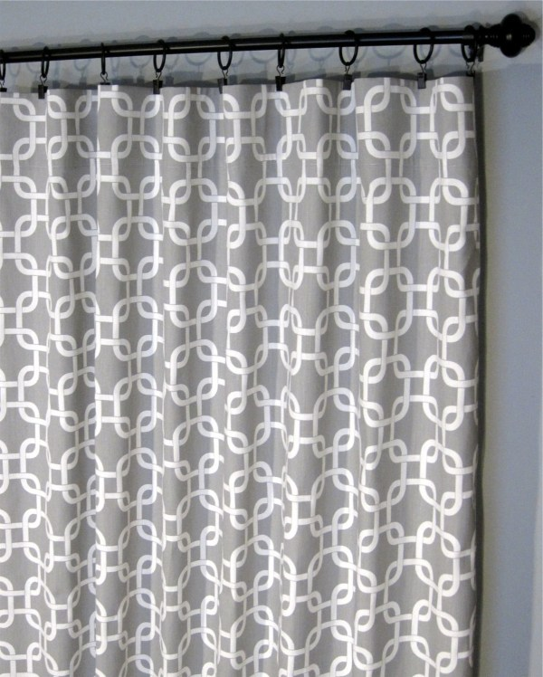 Grey and White Geometric Curtain Panels