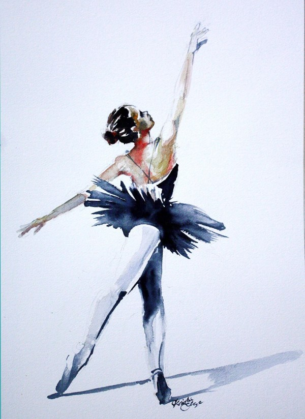 Original Watercolor Ballerina Dancer