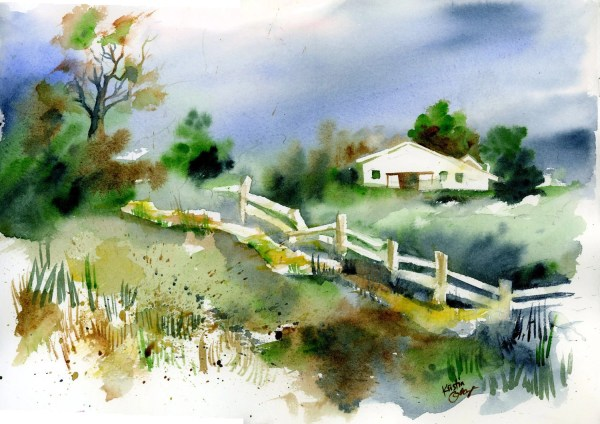 original watercolor painting country