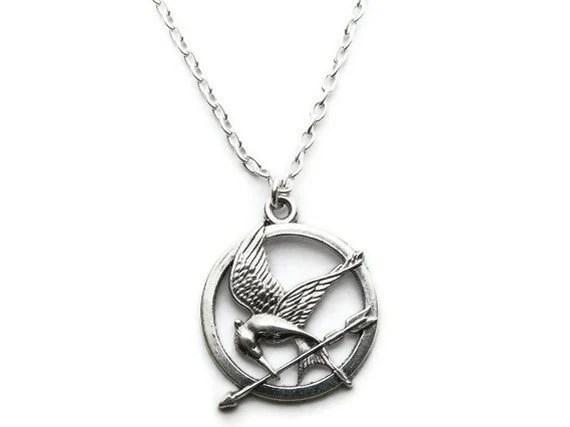 Items similar to Hunger Games Necklace, Mockingjay, Arrow