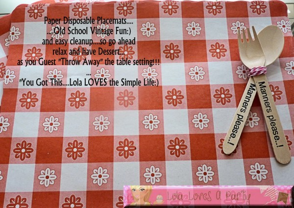 Paper Red Gingham Placemats Vintage Disposable