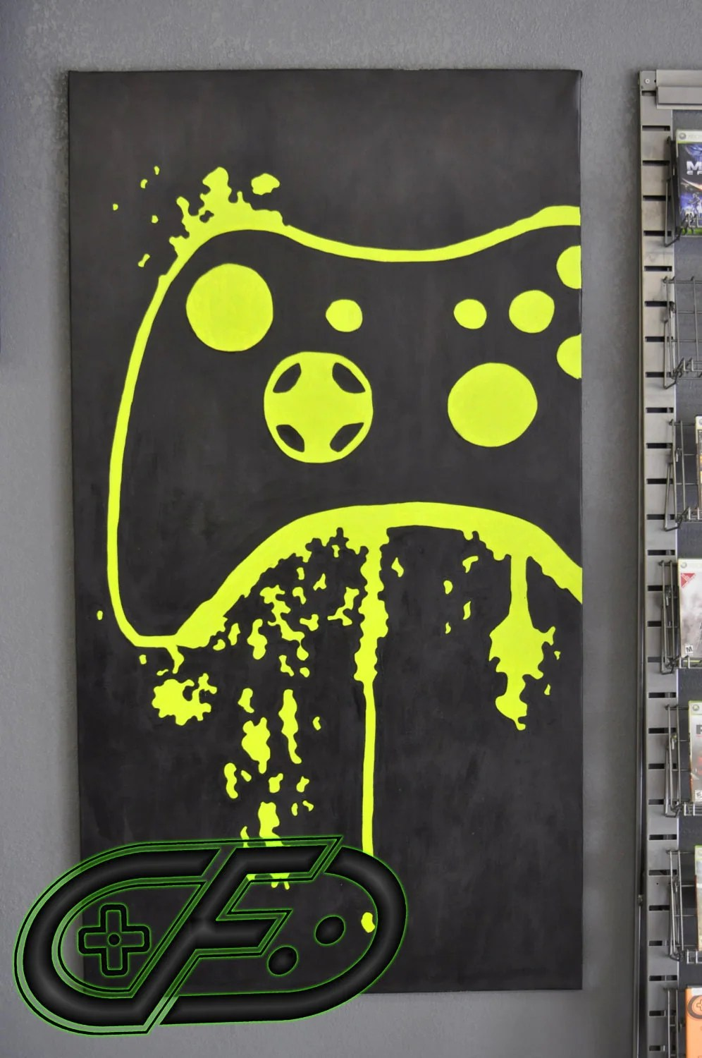 A gaming room won't look good in pastel colors. XBOX 360 Video Game Room Painting by ControlFreakGameArt ...