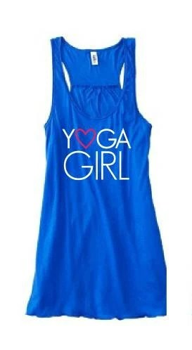 Yoga Girl - Flowy Bright Blue Tank.  Sizes: S - M - L - ZenGirlActivewear
