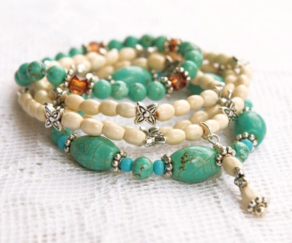 Turquoise Stretch Bead Bracelets with White and Silver Beads