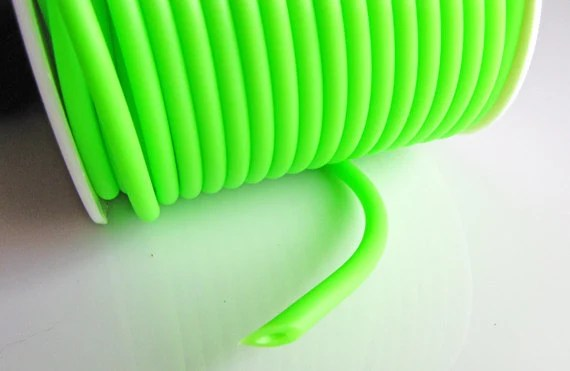 Rubber cord 4mm hollow tubing Neon lime green color 10 feet