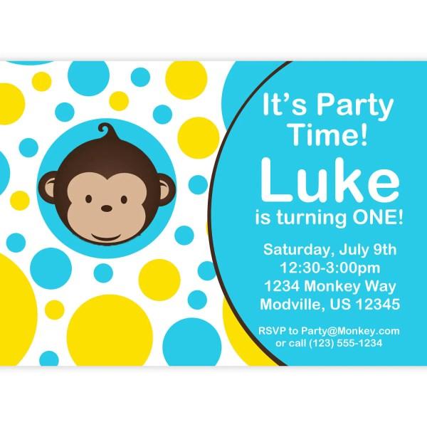 Mod Monkey Invitation Blue And Yellow Polka Dots Boy