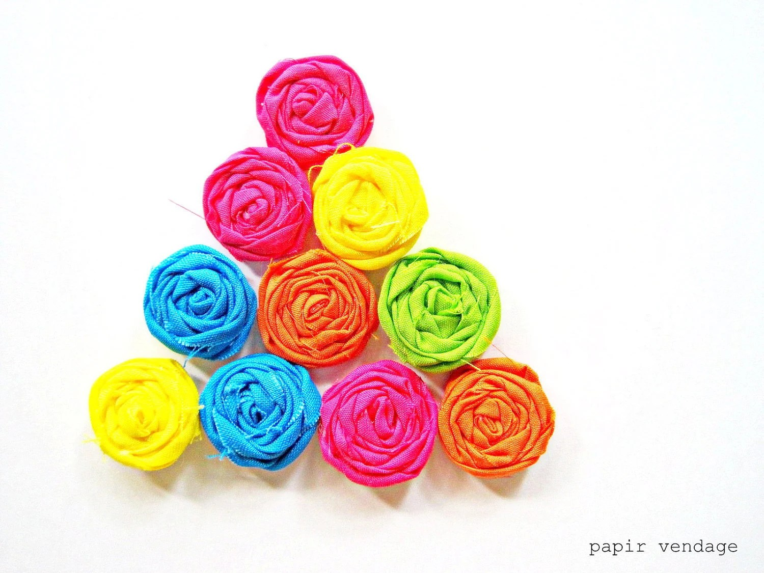 10 Neon Fabric Rosette Embellishments, Neon Pink, Green, Yellow, Orange & Blue, NEON Bright Summer Colors, Set of 10  (1 inch) Rosettes - papirvendage