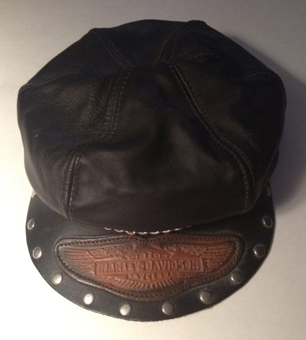Vintage Leather Harley Davidson Captain' Hat