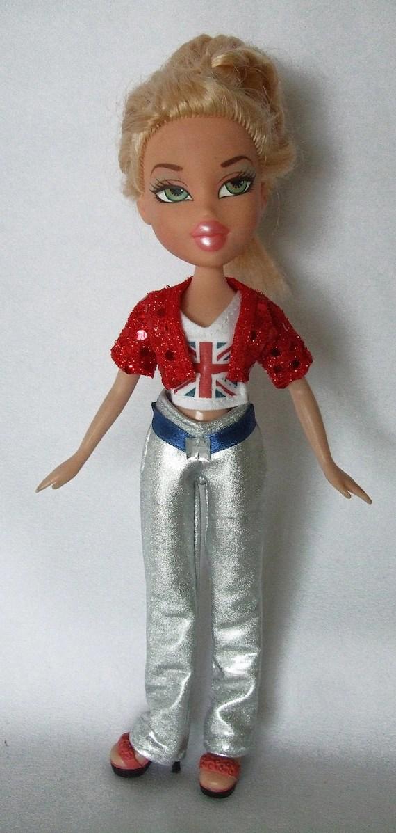 Bratz doll Union Jack print top, silver pants and a sequin jacket