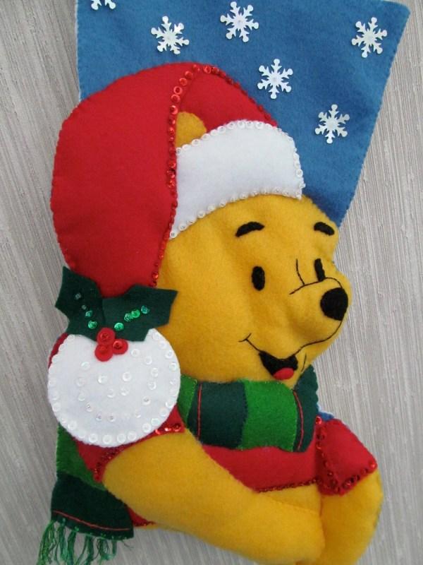 Pooh Bear Completed Handmade Felt Christmas Stocking