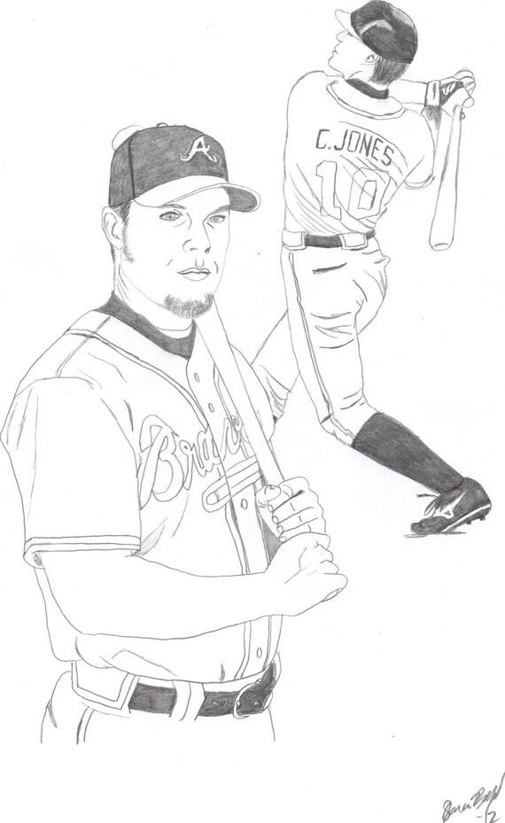 CHIPPER JONES Original Drawing Sketch Atlanta BRAVES Baseball