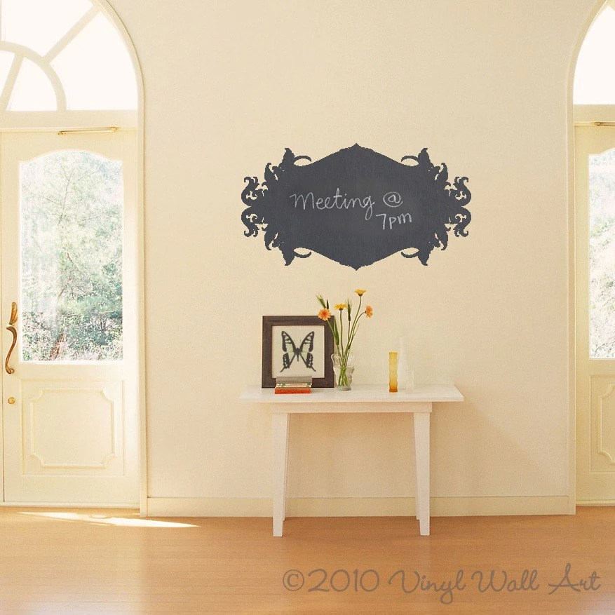 Ornate Chalkboard Vinyl Wall Decal size SMALL Message Pad