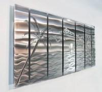 Large Tropical Modern Metal Wall Art Nautical Silver Metal