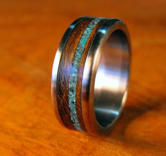 Titanium Ring Wood Ring Turquoise Ring Mens Wedding Band