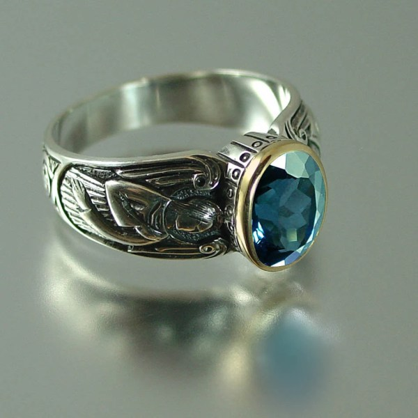 Guardian Angels Silver 14k Ring With London Blue Wingedlion