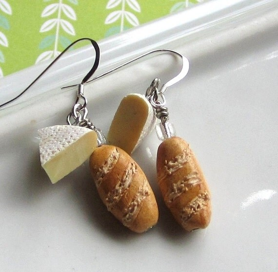 Brie and Baguette earrings from One Elf on Etsy