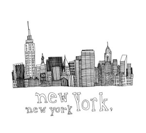 york drawing 5x5 nyc ny pen ink line buildings newyork lines cities