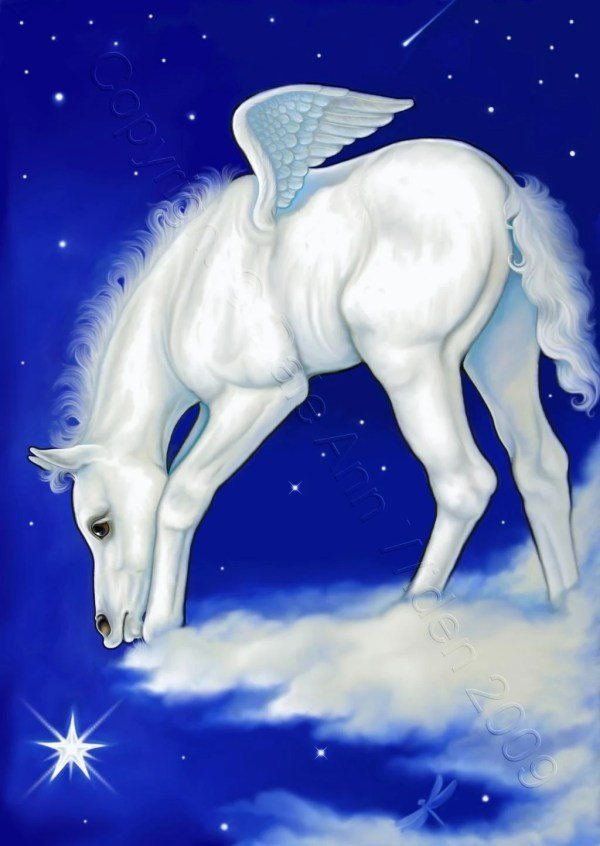 Aceo Fantasy Pegasus Horse Art Print Catch