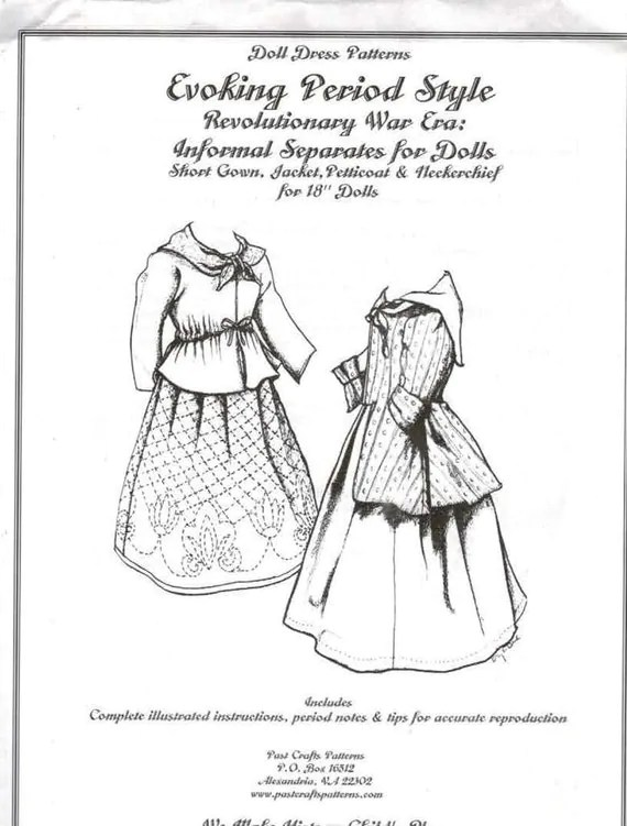 18 Inch Doll Clothes Pattern Past Craft Colonial Separates