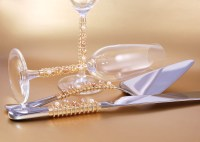 Cake Cutting Set And Champagne Toast Flutes Beaded Swarovski