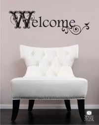 Welcome Wall Decal Vintage Sign Vinyl Text Wall Words