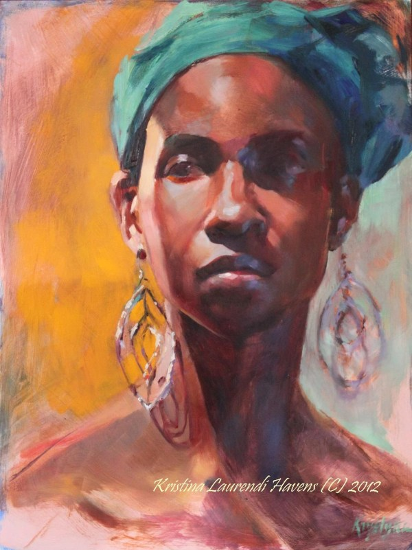 Oil Portrait Art Of African American Woman Wearing Turquoise