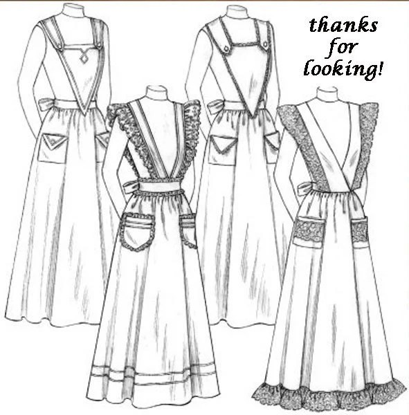 HOSTESS APRON Sewing Pattern Historical Costume by