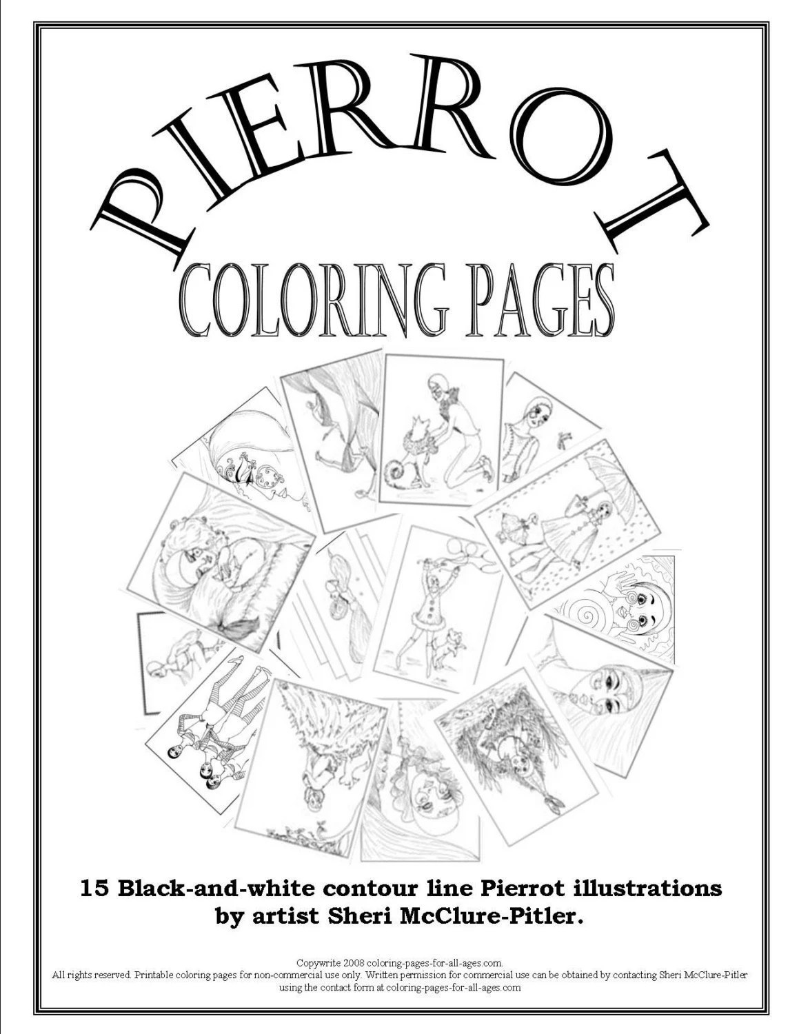 Items similar to Adult Coloring Book, Pierrot Coloring