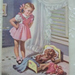 Little Girl Rocking Chair Ikea Poang Cover Ebay Uk Cute With Dog And Doll Vintage Art Litho Print