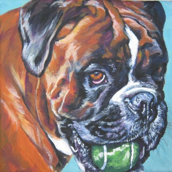 Boxer Portrait Canvas Print Of La Shepard Painting 8x8