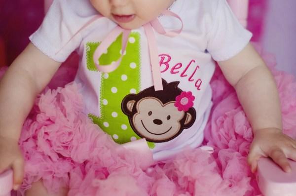 Mod Monkey Girls Birthday Shirt Allribbonedout