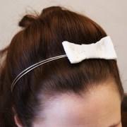 white bow headband. bridal hair