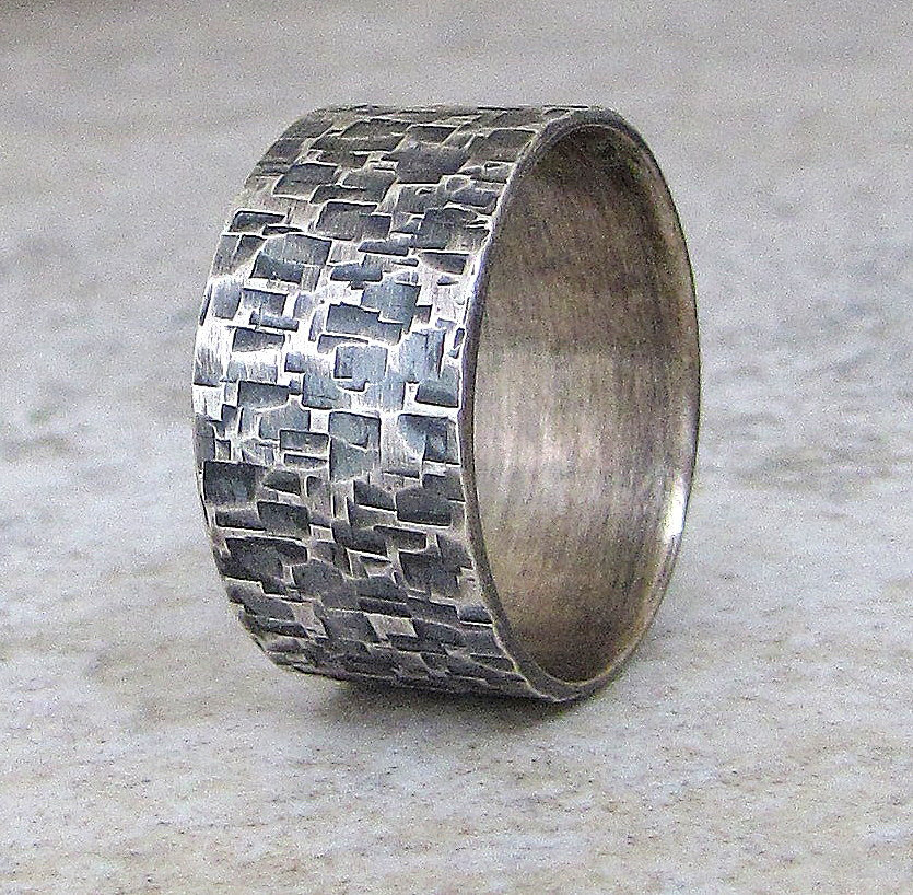 Mens Wedding Band Silver Wedding Ring Hammered Ring by SilverSmack