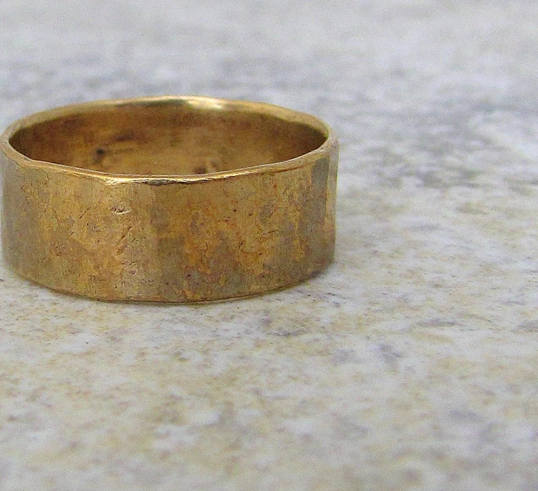 Hammered Brass Band Distressed Wedding Ring Rustic Mens