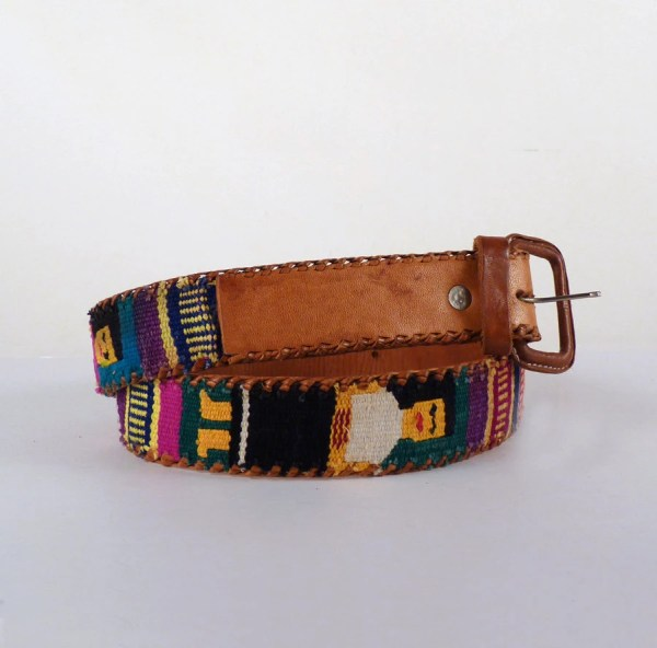 Vintage Belt South American Leather Handwoven Guatemalan