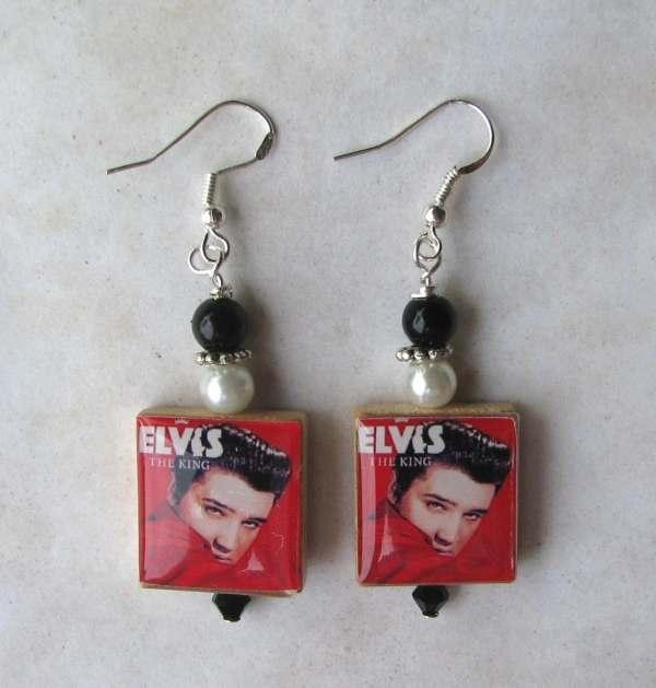 Elvis Presley King Swarovski Charm Earrings