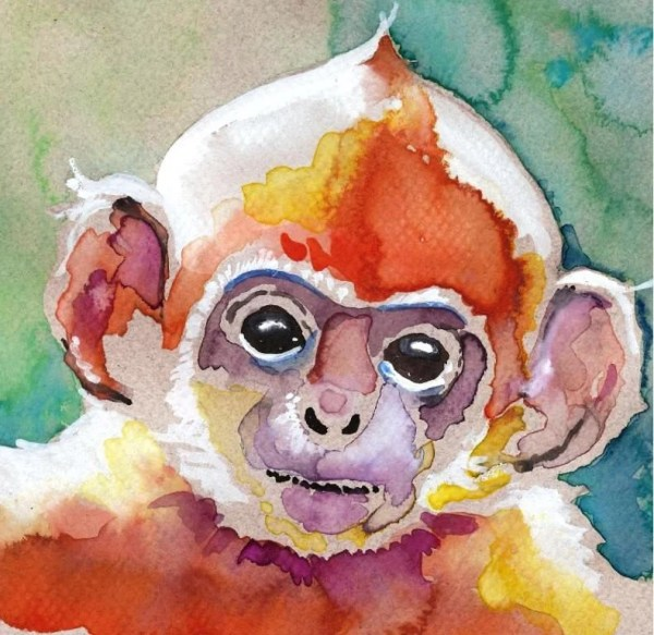 Monkey Watercolor Painting Print Artist Signed