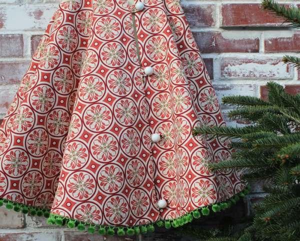Christmas Tree Skirt Red Retro Circle With Littleorangeroom