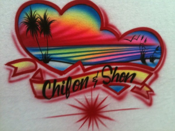 Airbrushed Shirt With Couples Red Multi Color Ocean Beach
