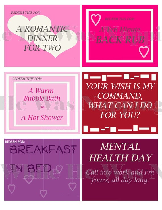 Love Coupons For HimFor Her Instant Download