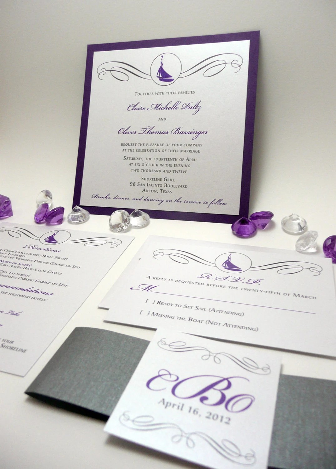 purple wedding invitation  u2013 nautical wedding sample  u2013 onepaperheart  u2013 stationary  u0026 invitations