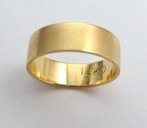 Gold Wedding Band Men Wedding Ring Flat With Sandblast Finish