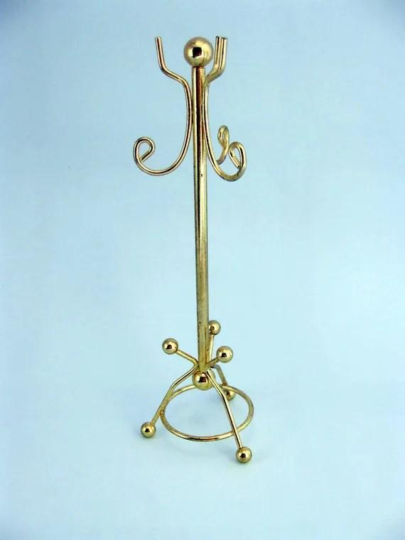 Miniature Brass Coat Rack Hall Tree by MothersMiniTreasures