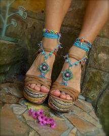 Blue Hippie Summer Barefoot Sandals Crochet Gpyoga
