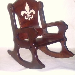 Wooden Youth Chair Reclining Rocking Nursery Kids Fleur De Lis